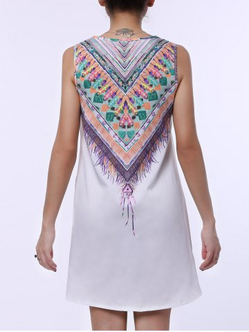 Outfit Ethnic Scoop Neck Sleeveless Printed Women's Dress - XL WHITE Mobile
