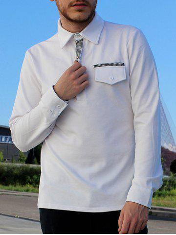 New Turn-Down Collar Button Embellished Pocket Long Sleeve Men's Polo T-Shirt WHITE 2XL