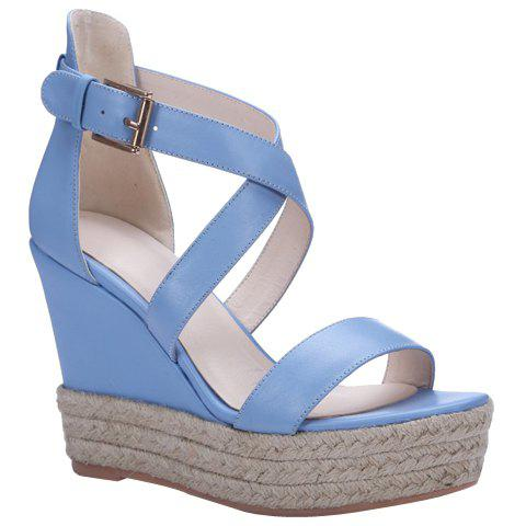 Hot Elegant Cross Strap and Solid Color Design Sandals For Women - 34 BLUE Mobile
