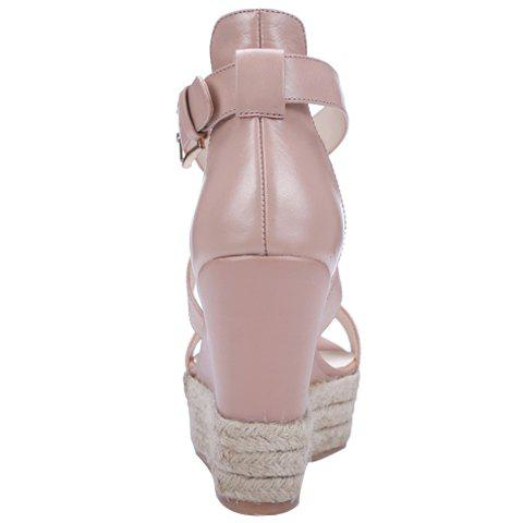 Chic Elegant Cross Strap and Solid Color Design Sandals For Women - 34 PINK Mobile