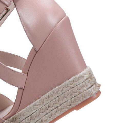 Outfits Elegant Cross Strap and Solid Color Design Sandals For Women - 38 PINK Mobile