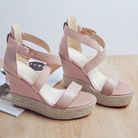 Store Elegant Cross Strap and Solid Color Design Sandals For Women - 38 PINK Mobile