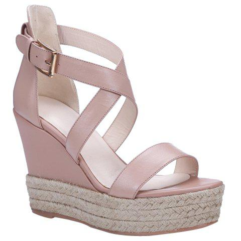 Cheap Elegant Cross Strap and Solid Color Design Sandals For Women - 38 PINK Mobile