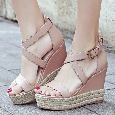 Chic Elegant Cross Strap and Solid Color Design Sandals For Women - 38 PINK Mobile