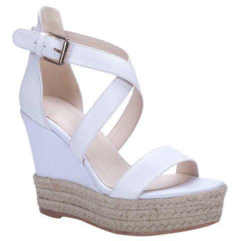 Store Elegant Cross Strap and Solid Color Design Sandals For Women - 34 WHITE Mobile