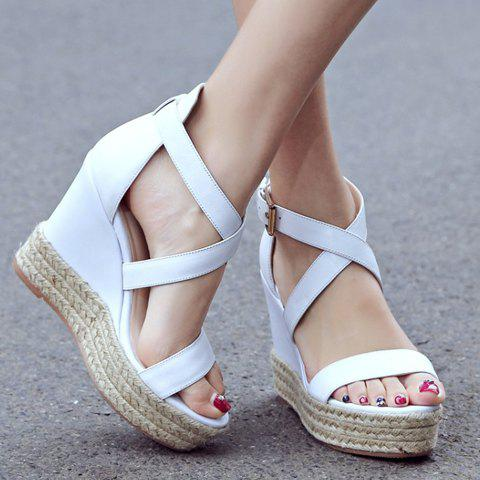 Fashion Elegant Cross Strap and Solid Color Design Sandals For Women - 35 WHITE Mobile