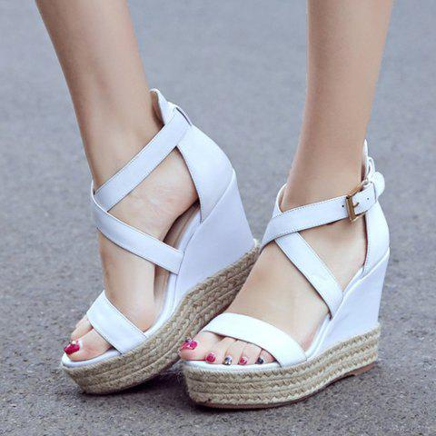 Outfits Elegant Cross Strap and Solid Color Design Sandals For Women - 38 WHITE Mobile