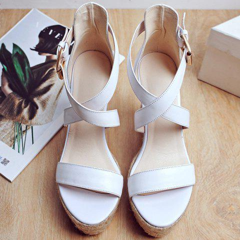 Store Elegant Cross Strap and Solid Color Design Sandals For Women - 37 WHITE Mobile