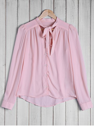 Shop Stylish Bow Tie Collar Solid Color Long Sleeve Blouse For Women PINK S
