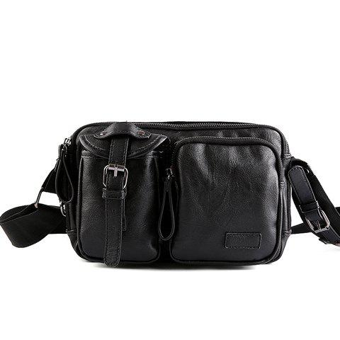 Trendy Casual Buckle and Black Color Design Messenger Bag For Men BLACK