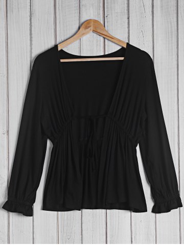 Sale Trendy Plunging Neck 3/4 Sleeve Black Blouse For Women BLACK S