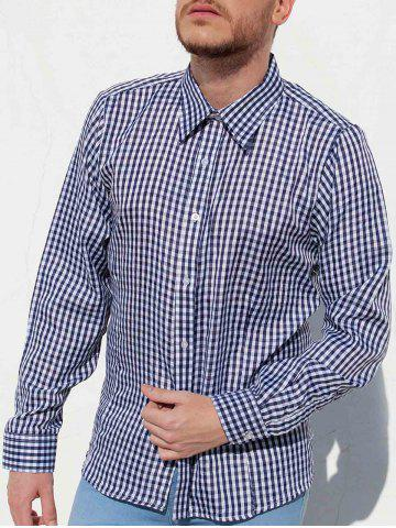 Latest Casual Turn-Down Collar Pliad Print Slimming Long Sleeve Men's Shirt