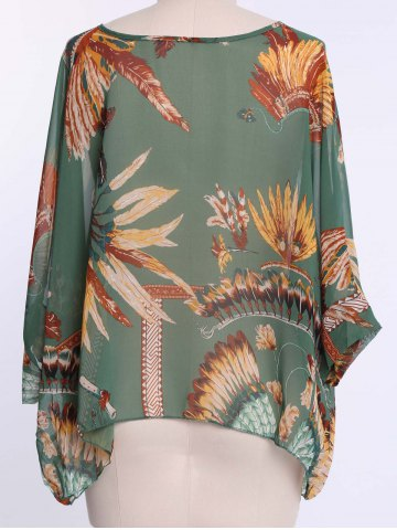 Online Batwing Sleeves Feather Print Casual Flowy Blouse - L GREEN Mobile