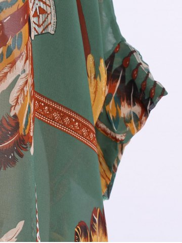 Shops Batwing Sleeves Feather Print Casual Flowy Blouse - L GREEN Mobile