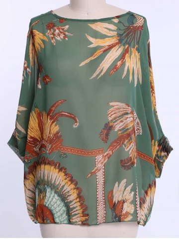 Discount Batwing Sleeves Feather Print Casual Flowy Blouse GREEN XL