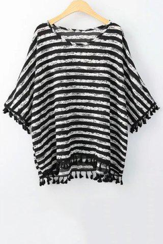 Online Stylish Scoop Neck 3/4 Sleeve Striped Print Women's T-Shirt