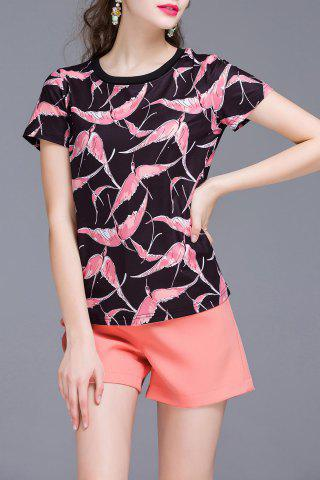 Discount Flamingo Printed T-Shirt and Shorts Twinset