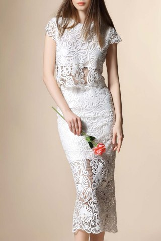 Guipure Lace Crop Top and Tube Skirt Twinset - White - S