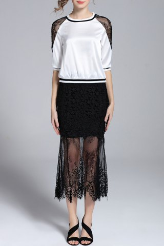 Chic Half Sleeve Blouse and Lace See-Through Skirt Twinset
