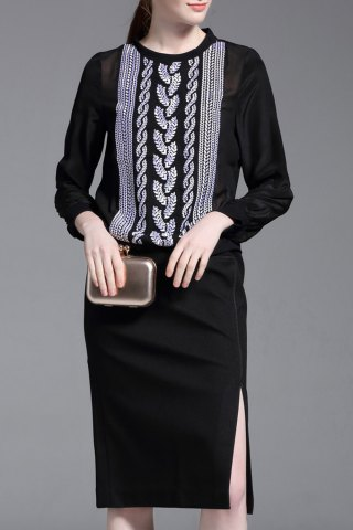 Store Silk Embroidery Blouse and Slit Skirt Twinset