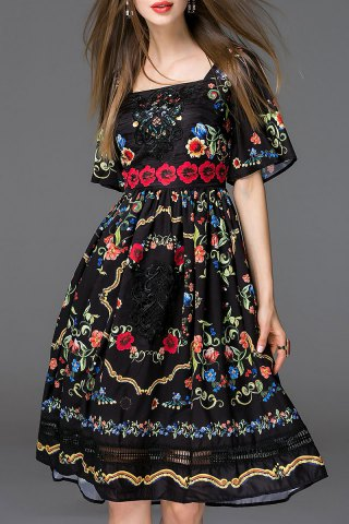 Trendy Embroidered Bell Sleeve Dress