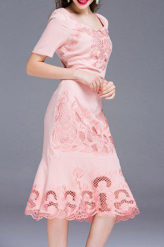 Latest Embroidered Solid Color Mermaid Dress
