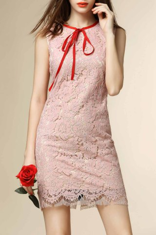 Cheap Contrast Bowknot Openwork Lace Hook Mini Dress