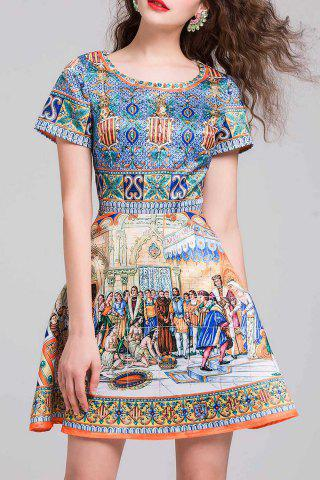 Sale High Waist Printed Flare Dress