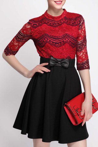 Outfits Mock Neck Lace Panel Color Block Dress