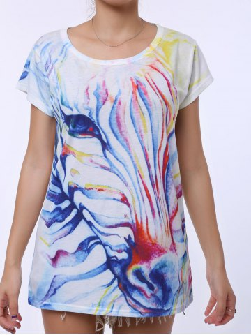 Casual Scoop Neck Watercolor Print Short Sleeve T-Shirt For Women - White - One Size(fit Size Xs To M)