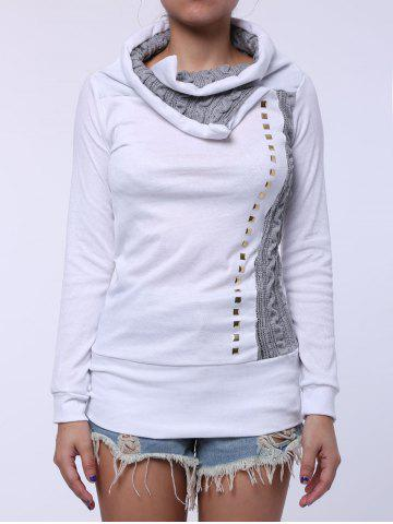 Stylish Turn-Down Collar Rivet Embellished Long Sleeve T-Shirt For Women - White - Xl