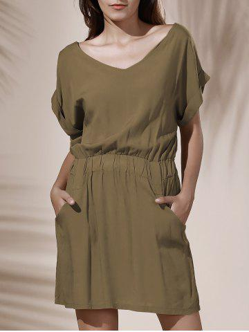 Casual Solid Color V-Neck Elastic Waist Loose Dress For Women - Khaki - One Size(fit Size Xs To M)