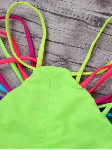 Outfit Halter Colorful Strappy String Bikini Set - S COLORMIX Mobile