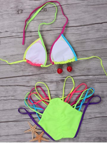 Outfit Halter Colorful Strappy String Bikini Set - L COLORMIX Mobile