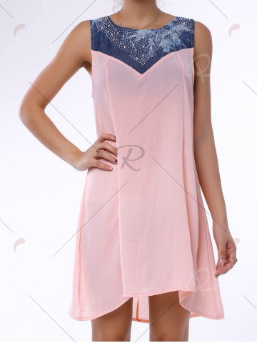 Hot Denim Trim Rhinestone Embellished Sleeveless Shift Dress - S LIGHT PINK Mobile