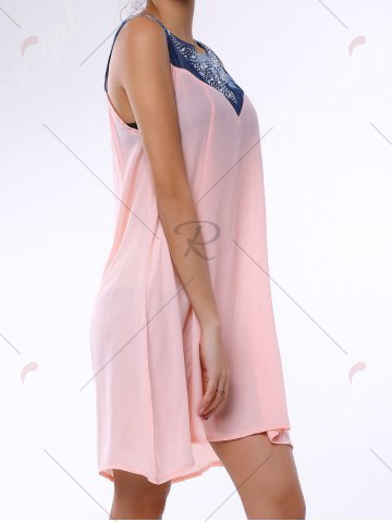 Latest Denim Trim Rhinestone Embellished Sleeveless Shift Dress - S LIGHT PINK Mobile