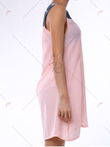 Affordable Denim Trim Rhinestone Embellished Sleeveless Shift Dress - S LIGHT PINK Mobile