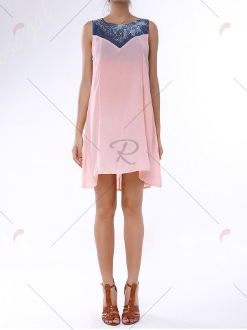 Shop Denim Trim Rhinestone Embellished Sleeveless Shift Dress - S LIGHT PINK Mobile