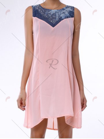 Chic Denim Trim Rhinestone Embellished Sleeveless Shift Dress - S LIGHT PINK Mobile