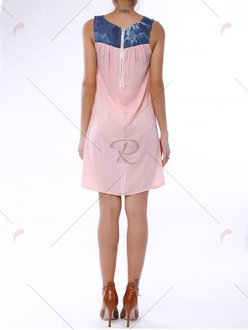 New Denim Trim Rhinestone Embellished Sleeveless Shift Dress - S LIGHT PINK Mobile