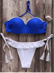 Sexy Strapless Beaded Fringed Bikini Set For Women