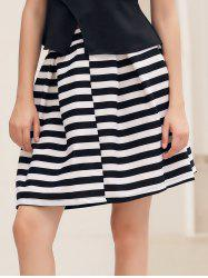 Box Pleat Striped A Line Skirt - NATURAL WHITE LIGHT