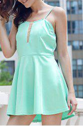 Endearing Green Spaghetti Strap Low-Cut Mini Dress For Women