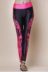 Fashionable Owl Print Color Splicing Skinny Women's Pants - BLACK AND ROSE RED