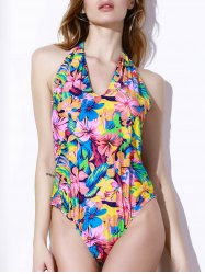 Halter Floral Backless One Piece Swimsuit -