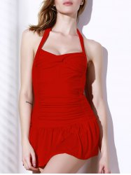 Sexy Solid Color Halterneck One-Piece Swimsuit For Women - RED M