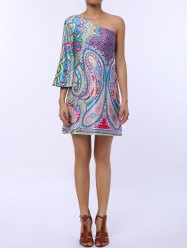 One Shoulder Printed Short Shift Dress