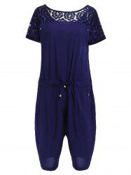 Casual Style Round Neck Short Sleeve Lace Spliced Plus Size Romper For Women -