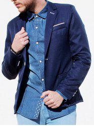 Trendy Lapel One Button Sutures Design Slimming Long Sleeve Polyester Blazer For Men - CADETBLUE