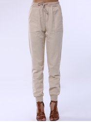 Drawstring Sports Pocket Jogger Pants - APRICOT S
